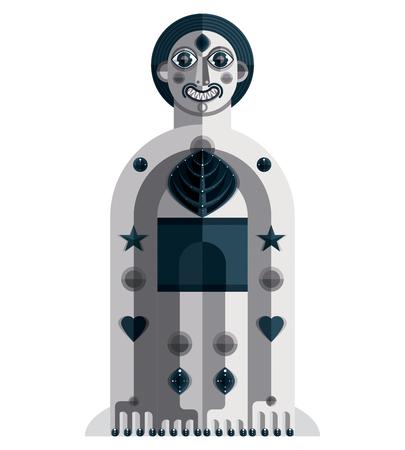 cubismo: Ilustración del vector del avatar modernista extraño, Tema de imagen cubismo. dibujo en escala de grises de tótem espiritual, puesta del chamán aislado en blanco. Vectores