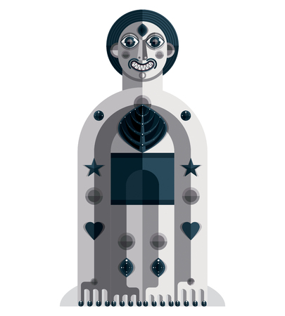 shaman: Vector illustration of bizarre modernistic avatar, cubism theme picture. Grayscale drawing of spiritual totem, fantastic shaman isolated on white. Illustration