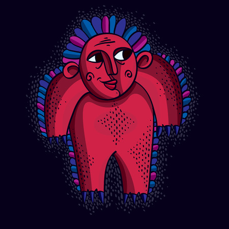 weird: Vector cool cartoon funny monster, simple red weird creature. Clipart mythic character for use in graphic design and as mascot.