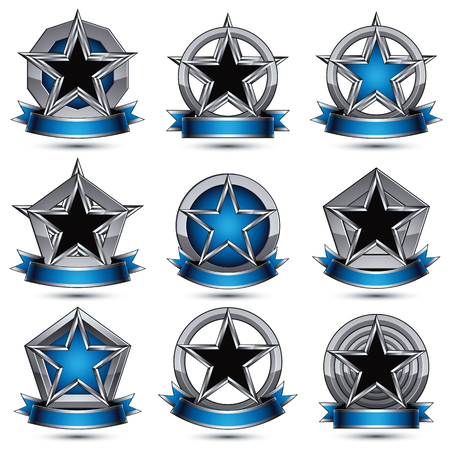 pentagonal: Collection of gray heraldic 3d glamorous icons, silver graphic objects with pentagonal stars and wavy stripes, vector design element.