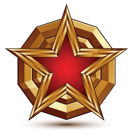aristocratic: 3d stylish vector template with pentagonal red star symbol placed on a golden rounded surface, best for use in web and graphic design. Conceptual aristocratic icon. Illustration