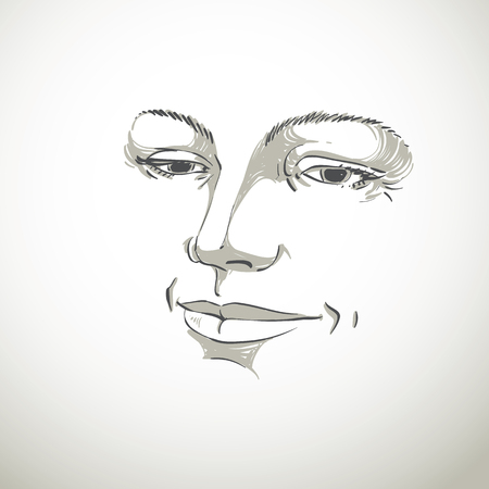 bemused: Monochrome hand-drawn silhouette of woman face, delicate features. Face expression on lady face, vector illustration.