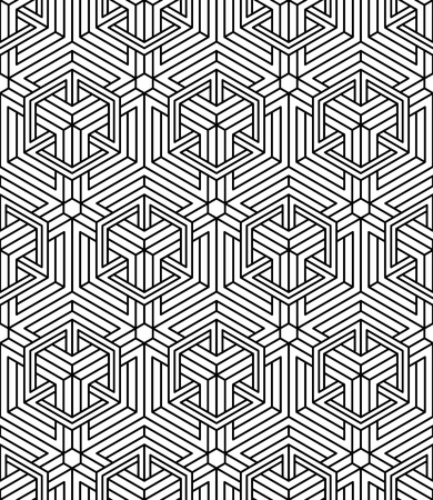 Seamless optical ornamental pattern with three-dimensional geometric figures. Intertwine black and white composition. Illustration