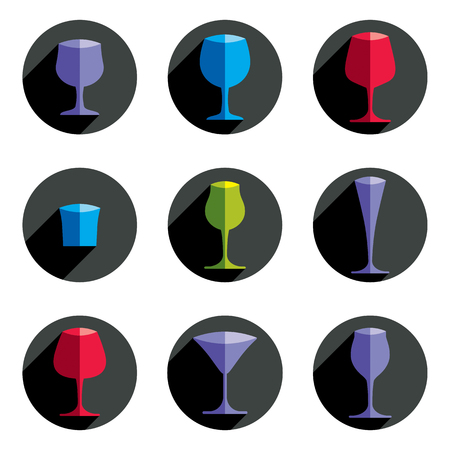 revelry: Colorful drinking glasses collection. Set of alcohol theme simple vector illustrations. Celebration elements, best for use in graphic and web design.