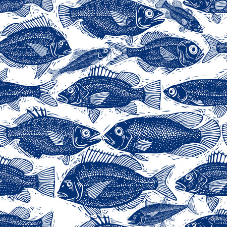 zoology: Freshwater fish endless vector pattern, nature and marine theme seamless tiling. Seafood wallpaper, zoology idea background. Illustration