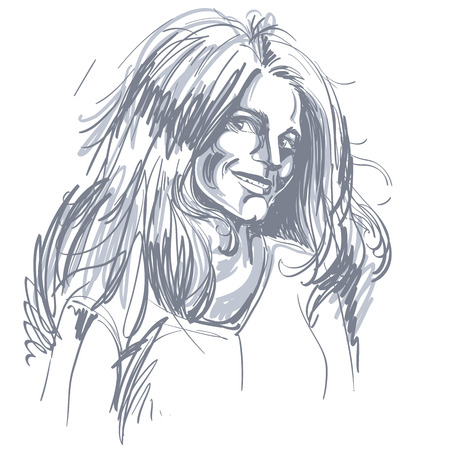 flirting: Portrait of delicate good-looking flirting woman, black and white vector drawing. Emotional expressions idea image. Caucasian type of person.