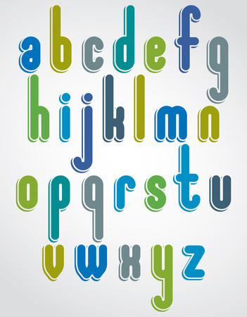 vowel: Rounded cartoon colorful lowercase letters with white outline, jolly animated font.