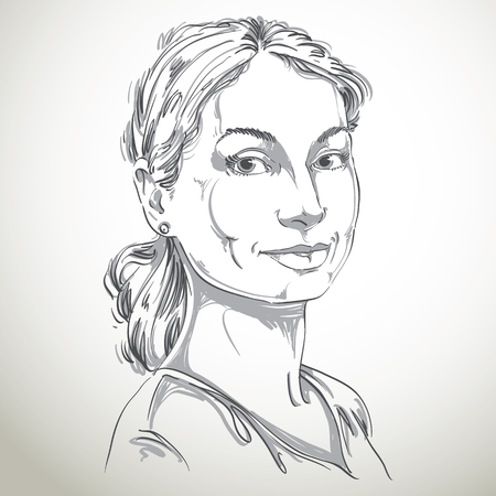 model posing: Portrait of delicate good-looking still woman, black and white vector drawing of peaceful and tender girl. Emotional expressions idea image, pretty model posing.