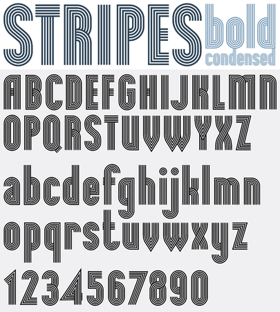affiche: Parallel striped black and white letters and numbers, bold poster font. Illustration