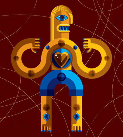 mythic: Modernistic style colorful vector illustration made from geometric figures. Flat design image of mythic creature, cubism theme.