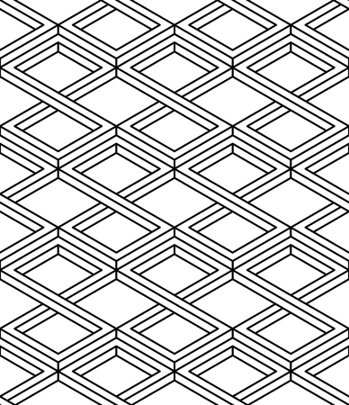entwine: Contemporary abstract vector endless background, three-dimensional rhombus repeated pattern. Decorative graphic entwine ornament.