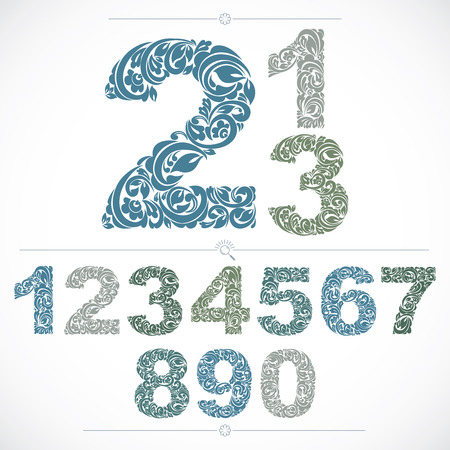 numeration: Ecology style flowery numbers, blue vector numeration made using natural ornament. Digits created with spring leaves and floral design. Illustration