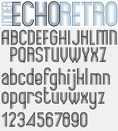 echo: Poster striped black and white letters and numbers, liner echo retro font. Illustration