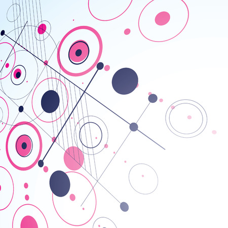 overlie: 3d vector Bauhaus abstract magenta background made with grid and overlapping simple geometric elements, circles and lines. Retro style artwork, graphic template for advertising poster.