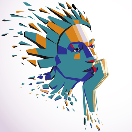 fractures: Smart person concept, human head exploding and breaks into multiple fractures. Human mind metaphor. Dimensional vector illustration of thoughtful woman face created in low poly modernized style. Illustration