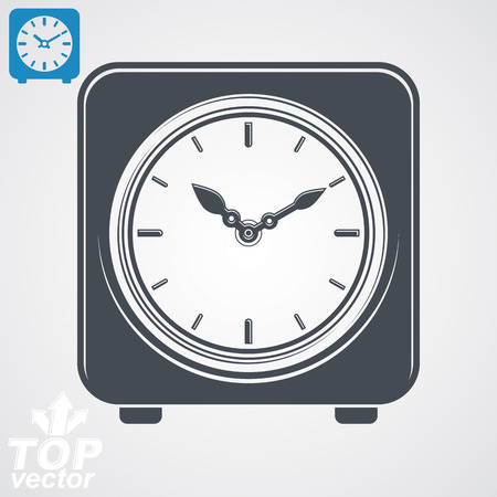clockwise: Vector square table clock with simple clockwise, includes additional version. high quality detailed illustration. Web design element business time management icon.