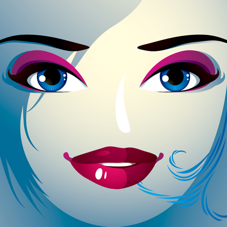 Coquette woman eyes and lips, stylish makeup and hairdo. People positive facial emotions. Illustration