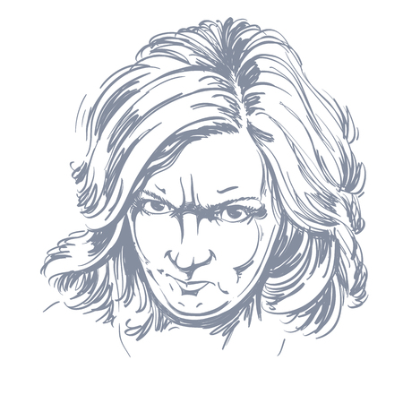 irate: Vector portrait of angry woman with wrinkles on her forehead, illustration of good-looking but irate female. Person emotional face expression. Illustration