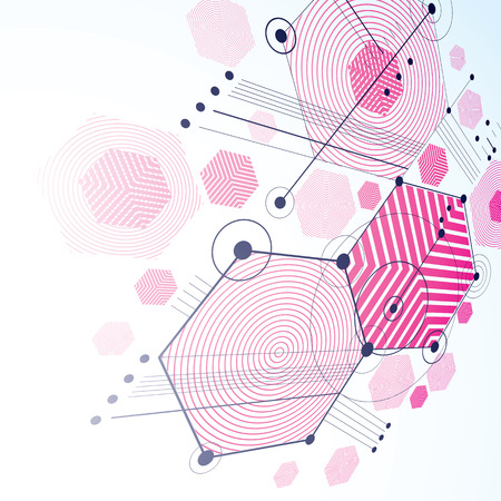 modular: Modular Bauhaus 3d vector magenta background, created from simple geometric figures like hexagons and lines. Best for use as advertising poster or banner design. Illustration