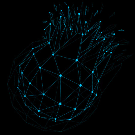 shatter: Vector dimensional wireframe luminescent object with blue connected lines, spherical demolished shape with refractions and wreckage. 3d mesh global technology element broken into pieces.