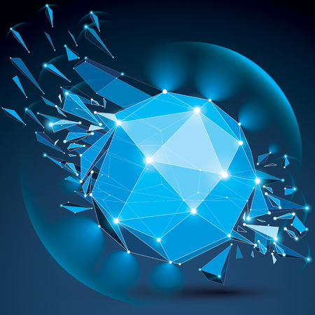 radiance: 3d vector low poly complicated object with sparkles and lens circles, white connected dotted lines. Geometric wireframe shape with fractures. Radiance perspective blue shattered form.