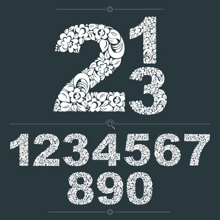 numeration: Set of vector ornate numbers, flower-patterned numeration. Black and white characters created using herbal texture. Illustration