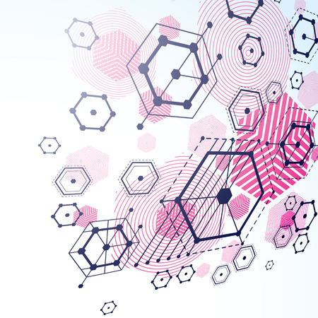 bauhaus: Bauhaus retro wallpaper, perspective magenta art vector background made using lines and honeycombs. Geometric graphic 1960s illustration can be used as booklet cover design. Illustration
