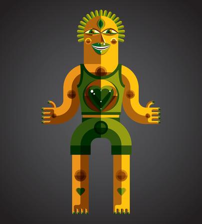 cubismo: Ilustración colorida del vector del estilo modernista hecha de figuras geométricas. Diseño plano imagen de la criatura mítica, tema cubismo. Dibujo de vanguardia de un ídolo mística.