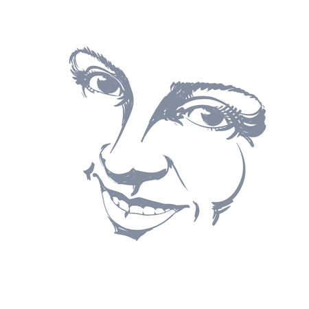 beautiful face: Hand-drawn illustration of woman face, black and white mask with emotions. Features of beautiful girl, posing for portrait. Caucasian type model posing for portrait.
