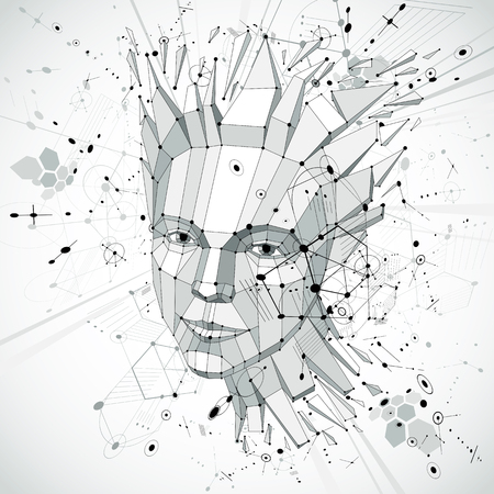 smart woman: 3d vector low poly portrait of a smart woman, human thoughts metaphor. Artistic background made using retro Bauhaus style visual elements, honeycombs and circles and connected lines.