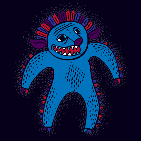 alien cool: Comic character, vector funny smiling alien monster. Emotional expression idea graphic symbol, design element.