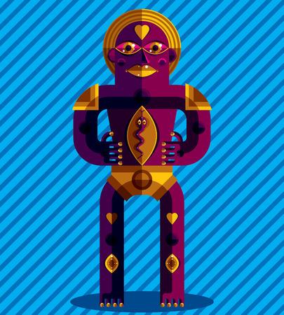 cubismo: ilustración vectorial gráfico, carácter antropomórfico aislado en el fondo decorativo arte, avatar moderna decorativa hecha en estilo del cubismo. Vectores