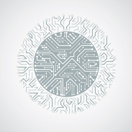 high tech device: Vector abstract technology illustration with round monochrome circuit board. High tech circular digital scheme of electronic device.