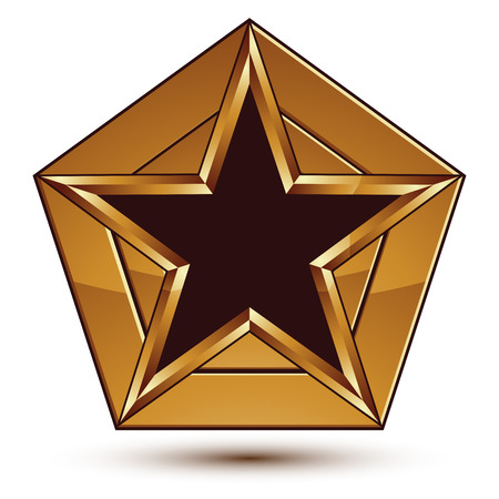 Glamorous vector template with pentagonal black star with golden outline placed on a polygonal object, graphic design element. Conceptual decorative icon, vector seal.