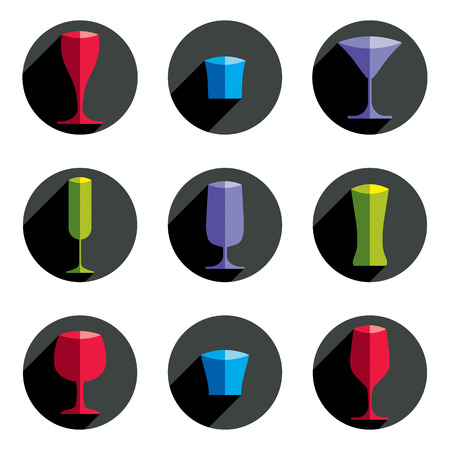 revelry: Decorative vector drinking glasses collection. Set of celebration goblets, simple glassware, can be used in graphic and web design.