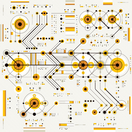 Future technology vector drawing, industrial wallpaper. Graphic illustration of engine or mechanism. Vectores