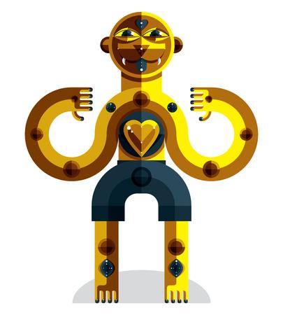 cubismo: Vanguardista avatar, dibujo colorido de la extraña bestia creada en estilo del cubismo. retrato geométrica modernista, ilustración vectorial de ídolo. Vectores