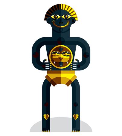 idol: Avant-garde avatar, colorful drawing of bizarre beast created in cubism style. Modernistic geometric portrait, vector illustration of idol.