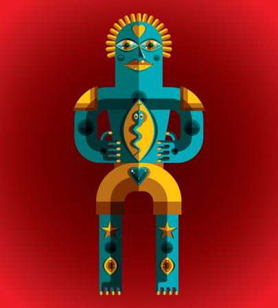 cubismo: Avant-garde avatar, colorido dibujo creado en el estilo del cubismo. Retrato geométrica modernista, ilustración vectorial de ídolo mítico.