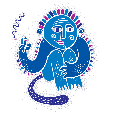 mutant: Vector illustration of weird monster sitting and smoking cigarette. Cute blue fictitious mutant, freak character can be used in graphic design. Illustration
