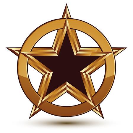 Refined vector black star emblem with golden outline, 3d pentagonal design element, 3d golden ring, polished glossy signet.