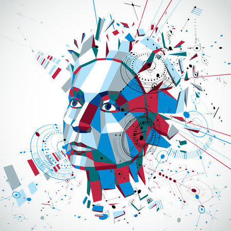 intelligence: Communication technology 3d vector background made with engineering draft elements and mechanism parts, science subject. Low poly illustration of human head full of thoughts, intelligence allegory.