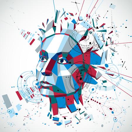 inteligencia: tecnología de la comunicación 3d vector de fondo hecho con proyectos de ingeniería de elementos y partes del mecanismo, objeto de la ciencia. ilustración poli baja de la cabeza humana llena de pensamientos, alegoría de inteligencia.