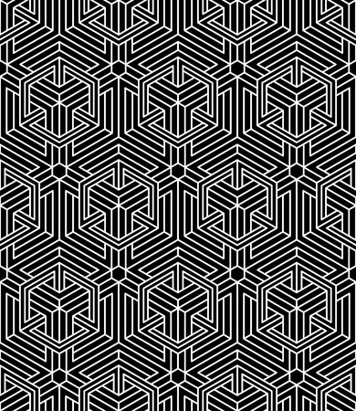 endless: Endless monochrome symmetric pattern, graphic design. Geometric intertwine optical composition.