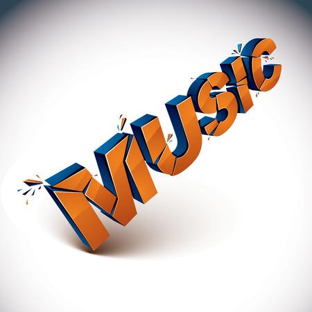 smashed: 3d music word broken into pieces, demolished vector design elements. Shattered orange art stylish inscription