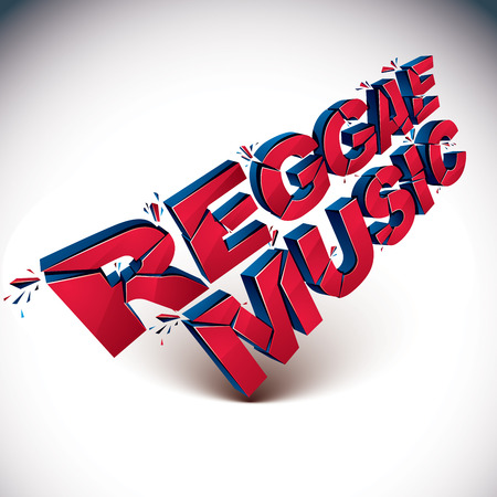 demolished: 3d red reggae music word broken into pieces, demolished vector design element. Shattered art stylish inscription.