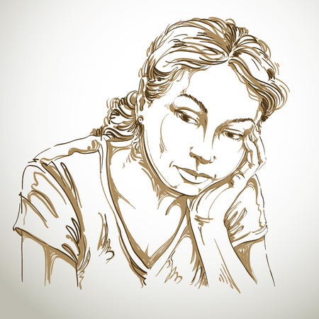 Vector art drawing, portrait of sad and depressed girl, thinking about something. Facial expressions, people emotions, romantic and tender young woman.