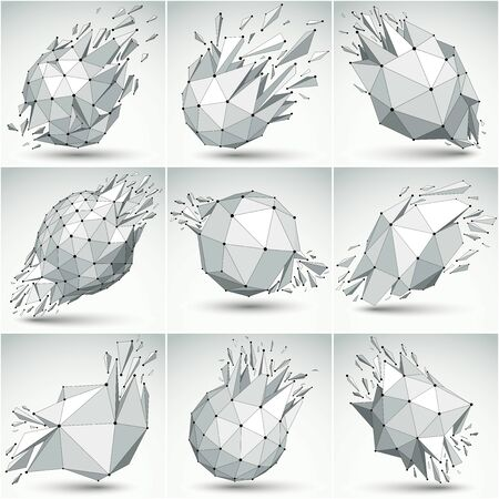 Set of 3d vector low poly objects with black connected dotted lines, collection of geometric wireframe shapes with fragments. Faceted perspective shattered forms.