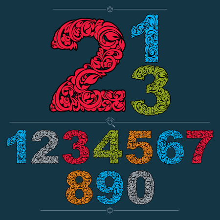 numeration: Set of vector ornate numbers, flower-patterned numeration. Colorful characters created using herbal texture.