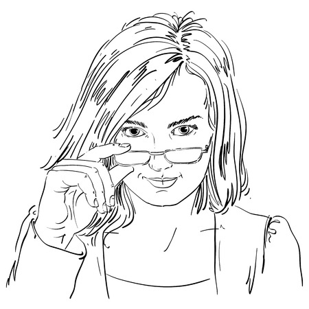 smart woman: Vector drawing of sexy business woman with stylish haircut and eyeglasses. Black and white portrait of attractive smart flirting lady.
